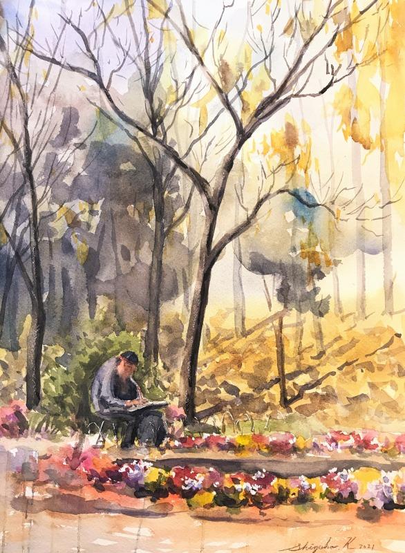 透明水彩スケッチ「老画家と庭」