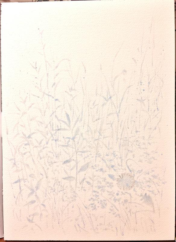 2016-12透明水彩画「野辺」(京都伏見)製作途中1