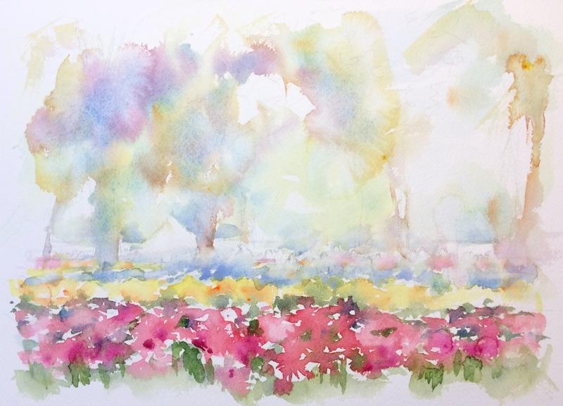透明水彩画「横浜の風景(チューリップフェスティバル)」途中0