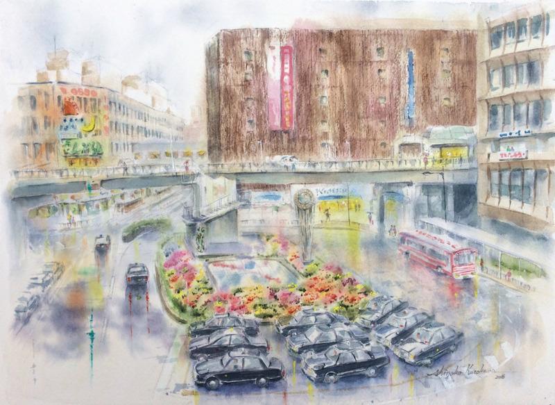 2016-2透明水彩画「あの雨の日 枚方」完成small