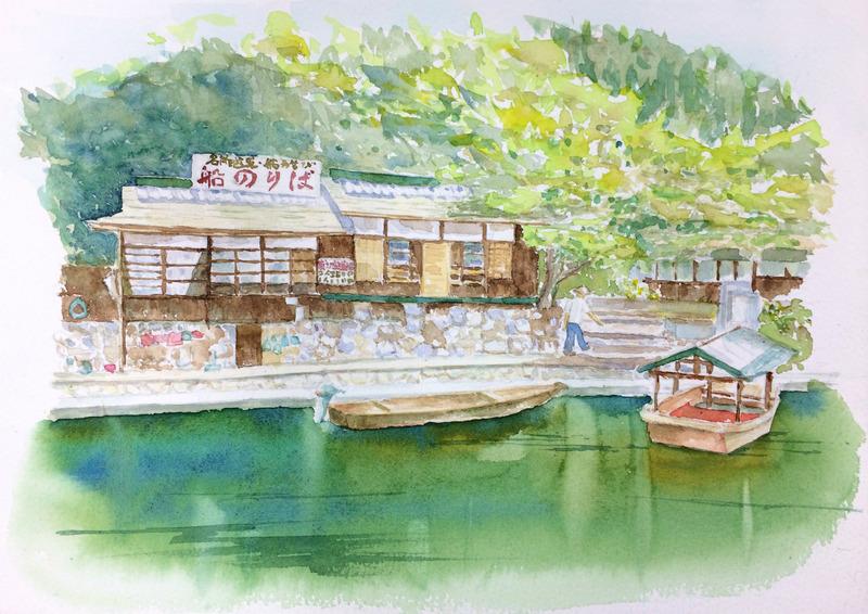 くろかわ透明水彩画教室「新緑の嵐山」&自宅展示にお勧めかも!☆簡易マットのアイデア♪