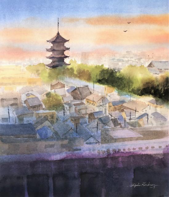 透明水彩画「家路」(京都 東寺が見える風景)を描きました☆