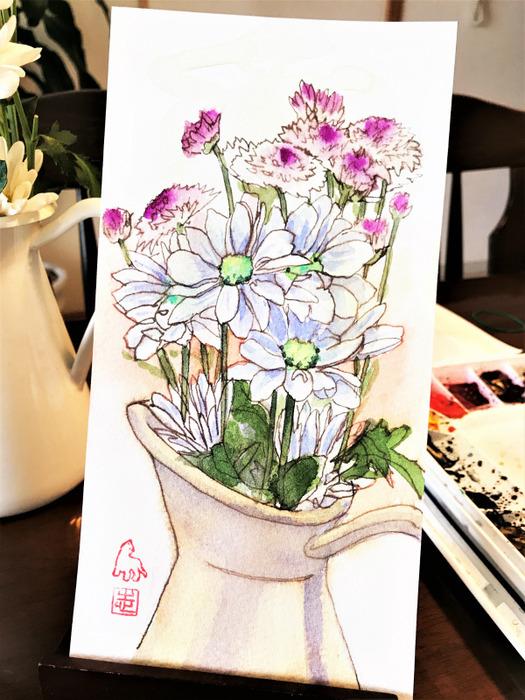ガラスペンと水彩で気楽に描く✒(難易度を低くするバリエーション)