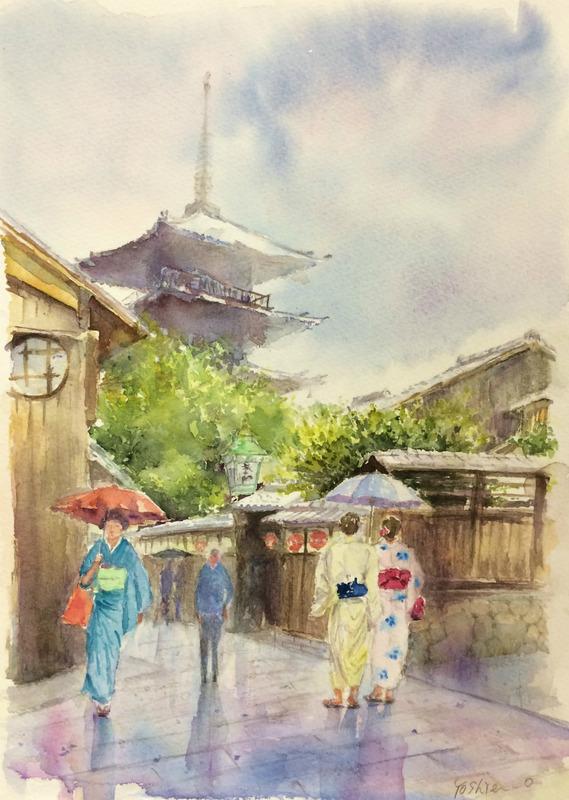 05OYさん透明水彩画「京都の光景(仮題)」