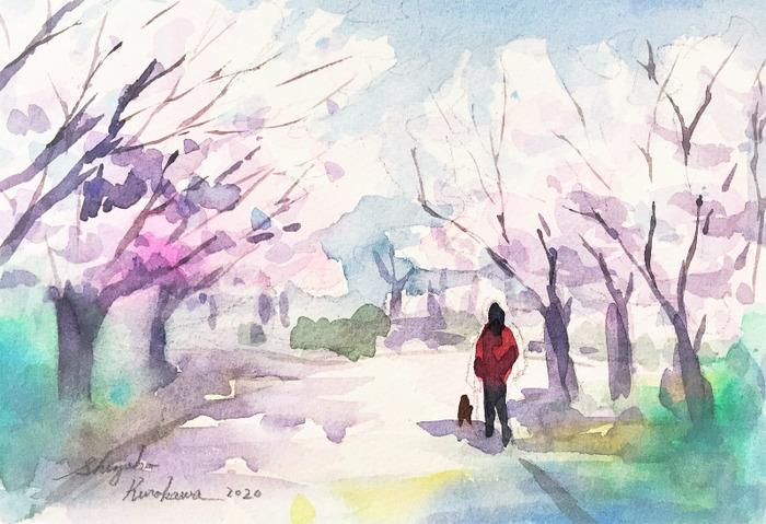 透明水彩画「桜の風景を描く」&ユーチューブ生配信テスト2回目を終えて