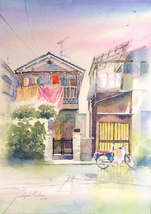 透明水彩画「静かな時間」(大阪府 枚方市)