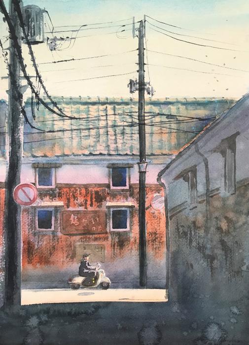 透明水彩画「町角」/「何が描きたくないかって瓦は全部描きたくないぞ」の巻