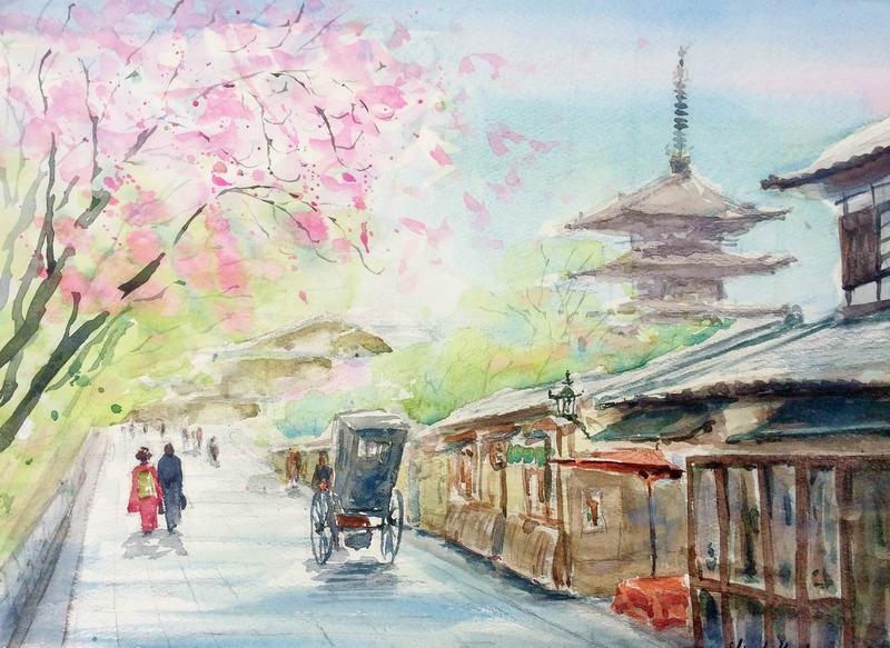 ホルベイン京都八坂の塔・高台寺周辺スケッチ会に行ってきました♪