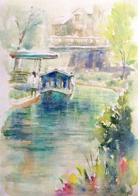 透明水彩画「京都の風景(伏見 運河)」完成