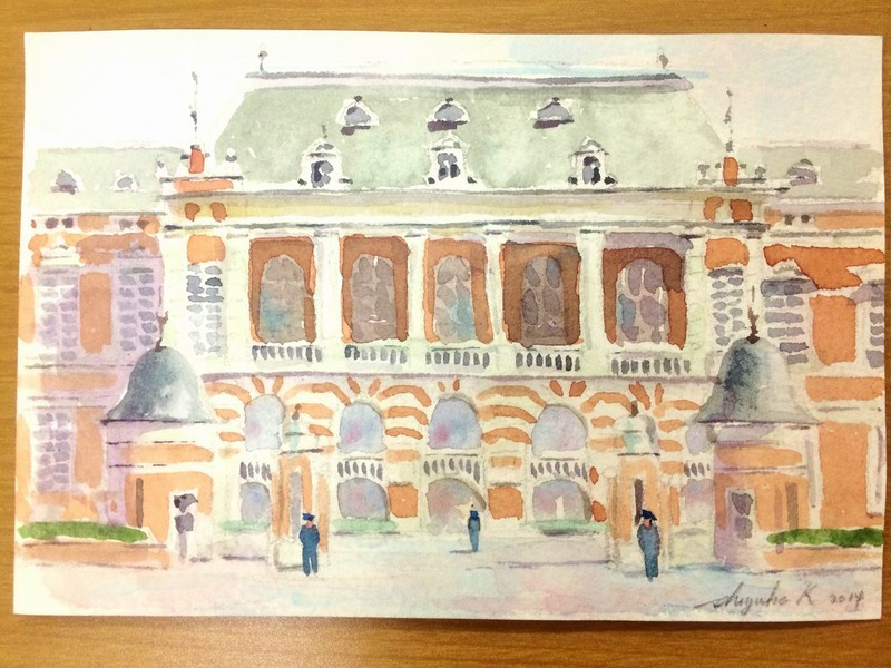 """透明水彩""""法務省旧本館""""をポストカードにデモで描く"""