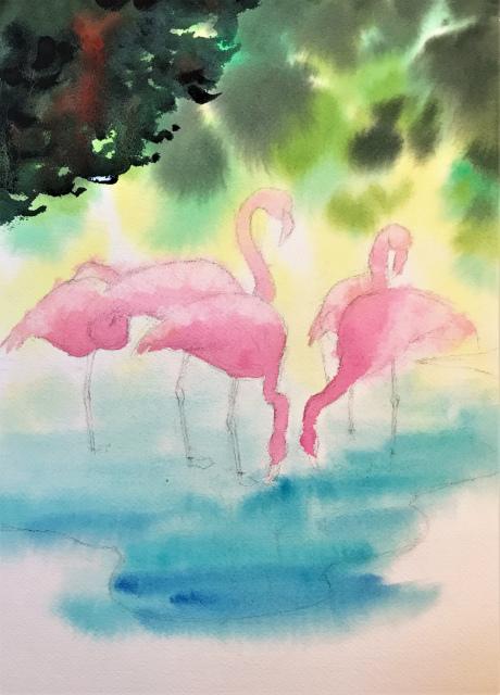 透明水彩一本線スケッチ(コラージュ)「oasis」アルシュ細目 (2)