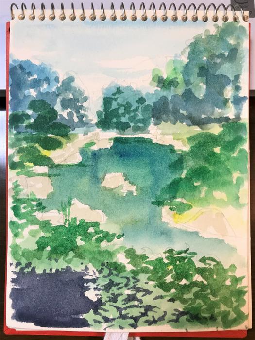 2019.07.13天王寺公園慶沢園スケッチF0途中 (3)