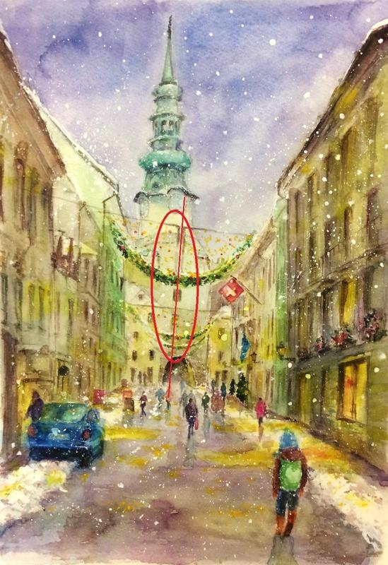 27OYさん透明水彩画「プラチスラバの風景(仮題)」3
