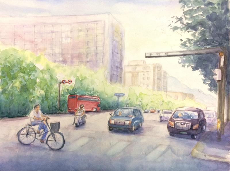 02Sさん水彩画作品「御池通の風景 京都(仮題)」