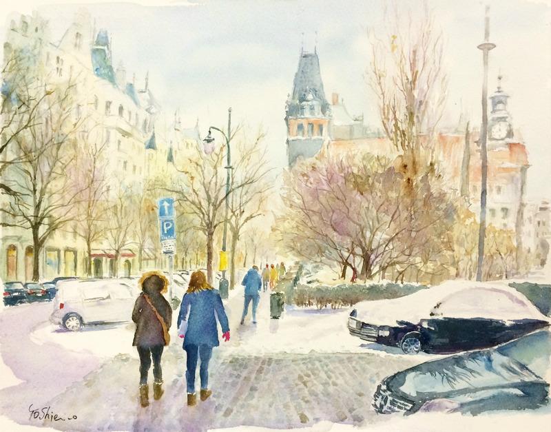 くろかわ透明水彩画教室OYさん作品「プラハの風景」と 画材クイズの答え