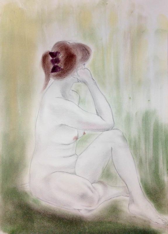 NHKカルチャー人物画教室 新緑の季節っぽく裸婦デッサン