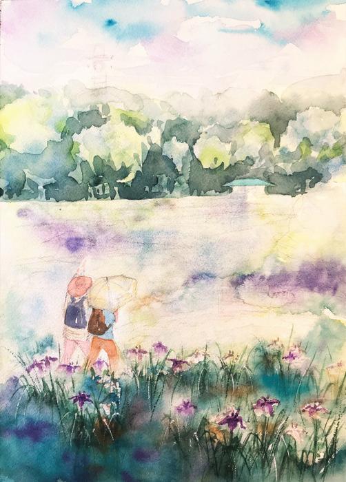 2020.02.21透明水彩画「菖蒲園(山田池公園)」#8完成  (3)