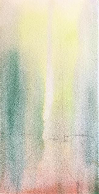透明水彩画「冬の旅人」(京都嵐山)大きなポストカード 途中 (1)