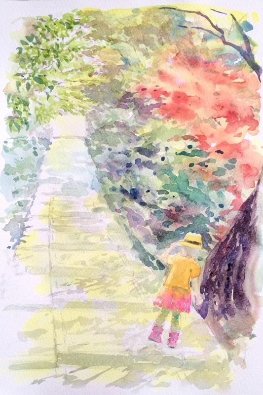 31透明水彩画「京都の風景(台所坂)」途中2