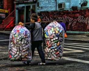 Chinese collecting cans