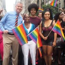 Chiara de Blasio & Bill & Dante & Chirlane at 2015 Pride Parade