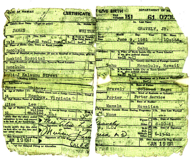 Birth Certificate of Gravely