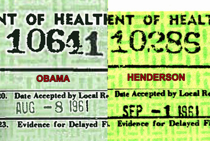 Birth Certificate of Obama & Henderson