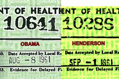 Birth Certificate of Obama & Henderson