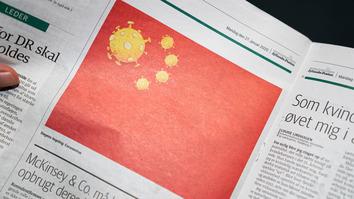 Danish paper Chinese flag with coronavirus