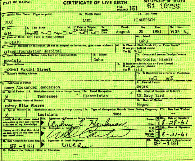 Birth Certificate of Henderson