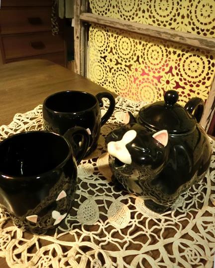 花園商店_ヴィンテージ猫型ポット&マグカップ (1)