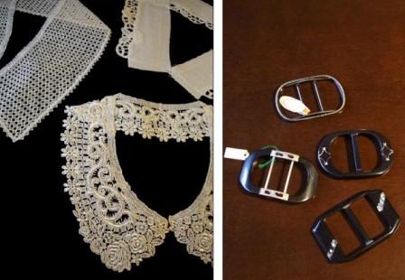レースの襟とベルトの金具