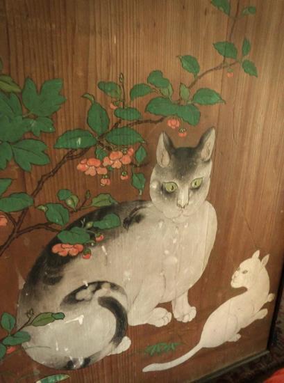 日光田母沢御用邸記念公園_襖絵_竹ニ牡丹ニ猫 (1)