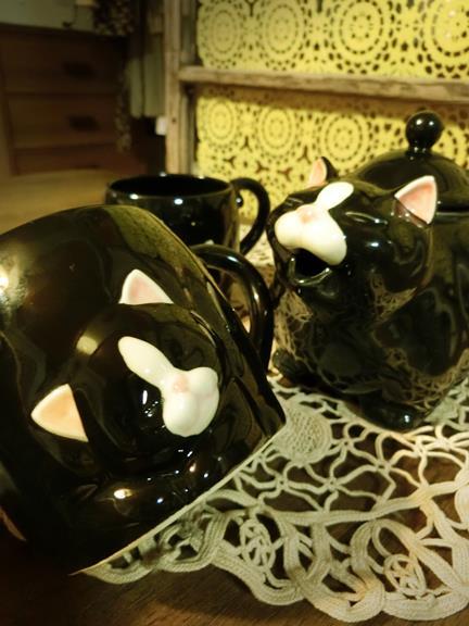 花園商店_ヴィンテージ猫型ポット&マグカップ (3)