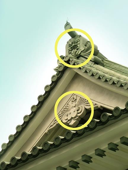 東京都墨田区横網_東京都慰霊堂_鳥と鬼瓦 (2)