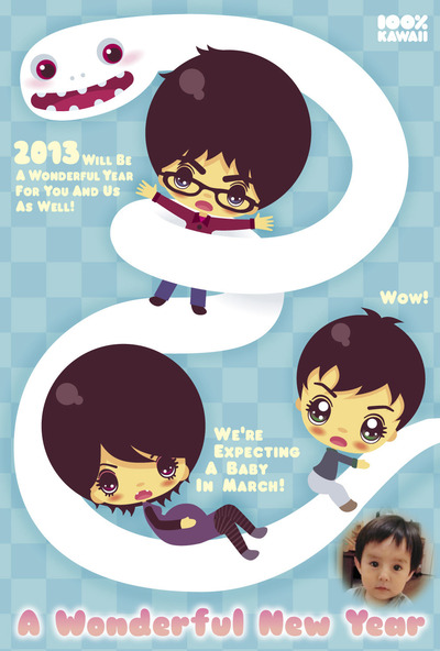 2013ǯ����Ĥ�Ĥ�ͥ�꡼ TsuyaTsuya Nemury 100% Kawaii NEW YEAR CARD