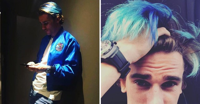 ◆悲報◆グリーズマン、髪の毛を水色の孔雀カラーに染めてネイマールにからかわれる(´・ω・`)