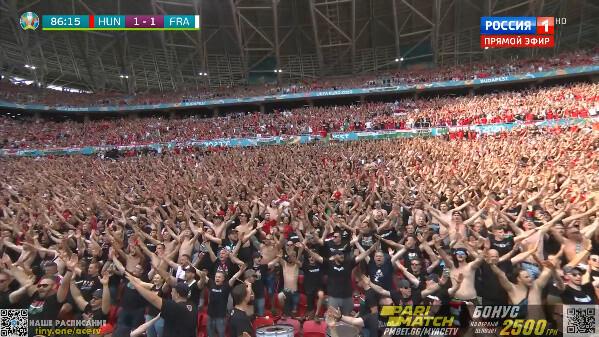◆EURO◆ハンガリーさん、今日も目抜き通りを数万規模の大行進!スタジアムも超満員でまさにハンガリー舞曲状態!