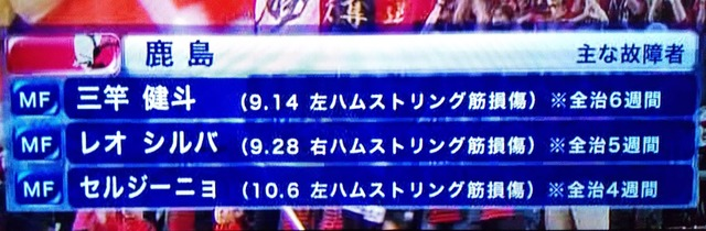 ◆悲報◆鹿島さん終了のお知らせ…三竿、レオ、セルジ+犬飼…壊れまくって無冠まったなし!