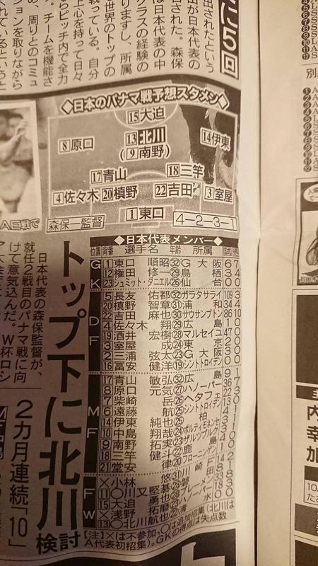 ◆日本代表◆今夜KO、パナマ戦スタメン予想割れる、TOP下北川か南野、バックライン冨安初先発or槙野