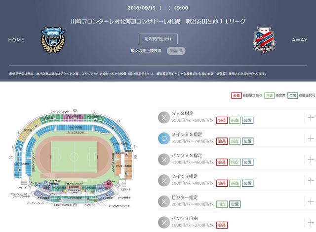 ◆朗報?悲報?◆ダイナミックプライシング導入で川崎F×札幌のチケットが4600円から6900円に値上がり