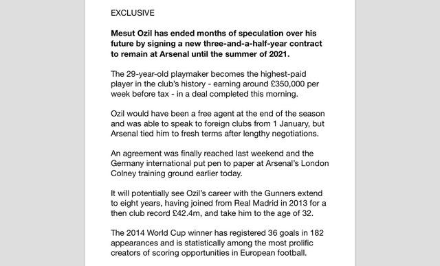 ◆プレミア◆ガナサポに朗報!メスト・エジル契約延長発表!週休£350k
