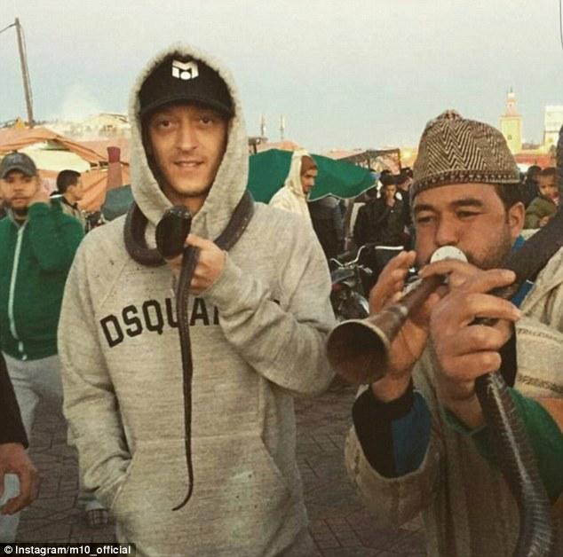 ◆画像◆2016ドイツ最優秀選手賞受賞のメスト・エジルさん 首に毒蛇コブラを巻きつけてお祝いwww