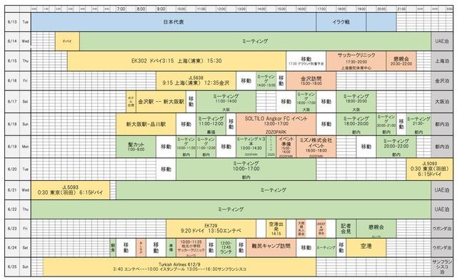 ◆代表小ネタ◆本田圭佑6月のスケジュール表公開!ほとんどビジネスマンだと話題に!