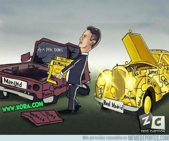 ◆画像小ネタ◆黄金の自動車(レアル)からポンコツにエンジン(ディ・マリア)を移し替えるファン・ハール