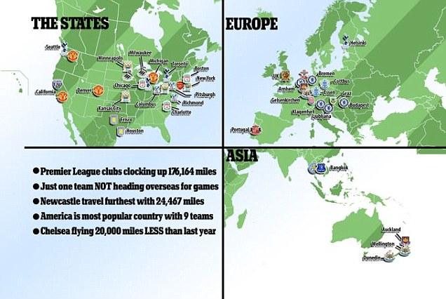 ◆プレミア小ネタ◆プレシーズン各クラブの海外への総移動距離は17万6千マイル(地球約7周)!!NO1はどのクラブ?
