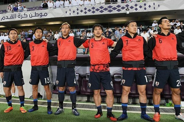 ◆画像◆UAE戦ベンチ前に並んで立った結果、岡崎は当然だが宇佐美と槙野の脹脛が相当太いと話題に!