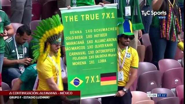 ◆W杯小ネタ◆ブラジルの恨みはロシアで!?ドイツの相手メキシコを応援するブラジル人の弾幕が面白すぎると話題に!