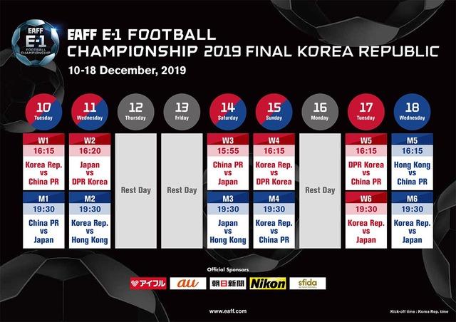 ◆悲報◆2019EAFF-E1(旧東アジア杯)の日程がまたも酷すぎる件…J1最終節終了後中二日で開幕戦