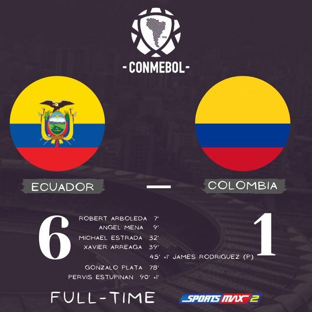 ◆W杯予選◆南米4節 エクアドル×コロンビア コロンビア衝撃の大敗!高地キトで6失点!